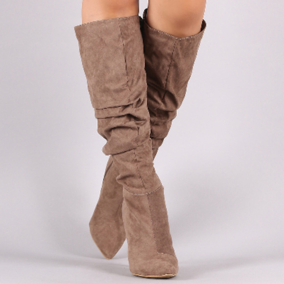 Womens Taupe Pointy Toe Slouchy Knee High Boots